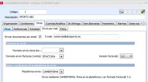 Ficha de Cliente, Pestaña Otros > Envío por mail